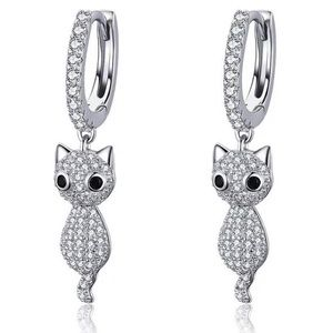 Jewelry - Sterling Huggies with CZ Kitty Charms